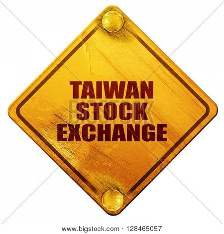 taiwan stock exchange, 3D rendering, isolated grunge yellow road