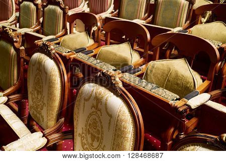 MOSCOW, RUSSIA - JAN 15, 2015: Armchairs in auditorium of Moscow theatre Et Cetera. Theatre has two auditoriums - for  525 seats and for 150 seats.