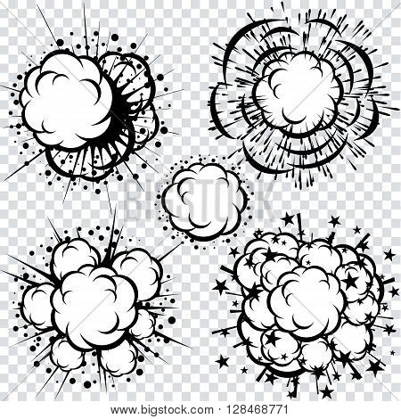 Set of Comics Book Cartoon Explosions. Isolated Vector Clip Art