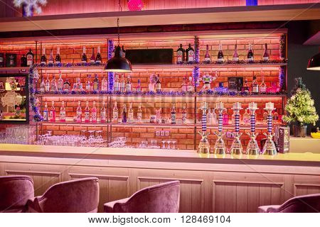 RUSSIA, MOSCOW - DEC 28, 2014: Bar counter in the restaurant Siren (Lilac), located in Sokolniki park at Pesochnaya alley.
