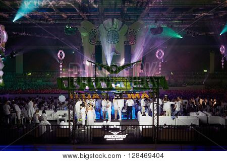 RUSSIA, MOSCOW - JUN 12, 2015: VIP zone at Olympiysky sports complex with view at Central stage during Sensation Wicked Wonderland show.