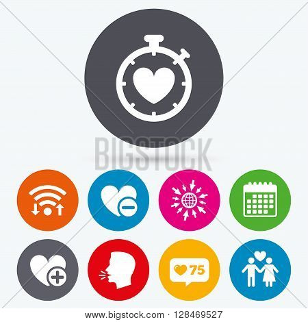 Wifi, like counter and calendar icons. Valentine day love icons. Love heart timer symbol. Couple lovers sign. Add new love relationship. Human talk, go to web.