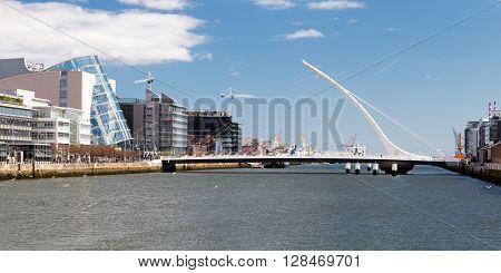 Dublin Ireland - April 18 2016: Samuel Beckett Bridge in Dublin Ireland on June 05 2014