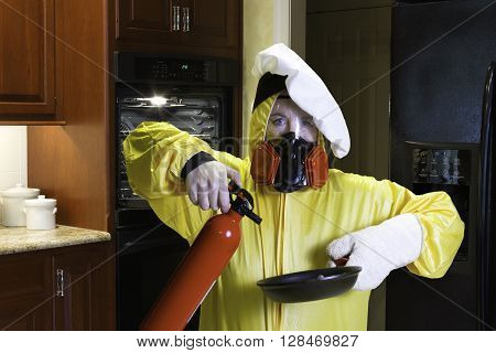 Kitchen Disaster With Hazmat And Fire Extinguisher