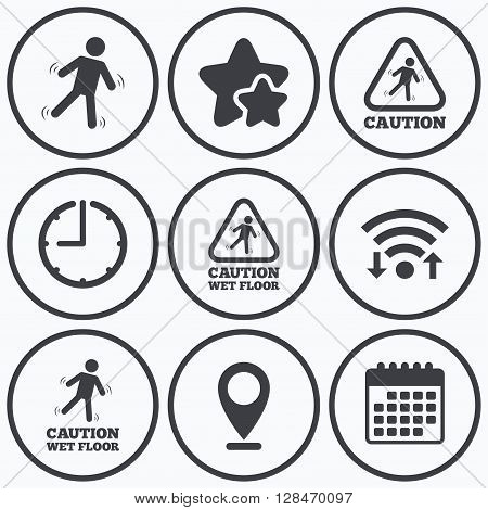 Clock, wifi and stars icons. Caution wet floor icons. Human falling triangle symbol. Slippery surface sign. Calendar symbol.