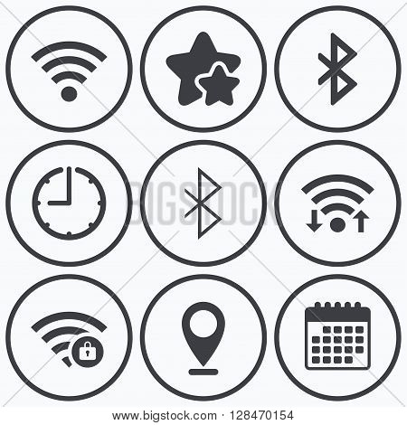 Clock, wifi and stars icons. Wifi and Bluetooth icons. Wireless mobile network symbols. Password protected Wi-fi zone. Data transfer sign. Calendar symbol.