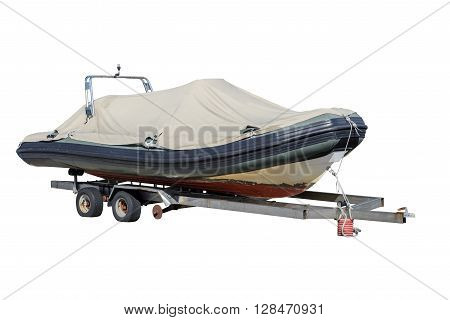 image of inflatable boat isolated on white background