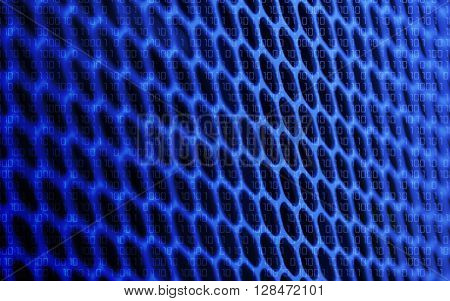 Technology binary background. Binary code on dark blue background. Concept - binary technology code net digital