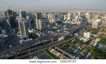 BANGKOK THAILAND - May 3: aerial view of express way and sky scraper in haert of thailand capital on may3 2016 in bangkok thailand