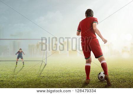 Man Kick Ball On The Goalkeeper