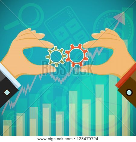 Two businessmen hold in their hands the gears. Symbol of cooperation. Stock vector illustration.