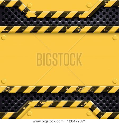 Industrial metal technology background. Danger sign. Stock vector illustration.
