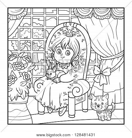 Numbers Game For Children. Little Princess Sitting On A Throne