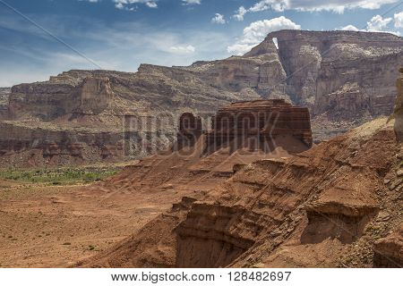 McKay Flat and Hondu Arch from colorful Reds Canyon in the San Rafael Swell near Greenriver Utah.