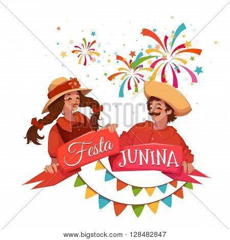 Brazilian Festa Junina Party banner. Vector illustration.