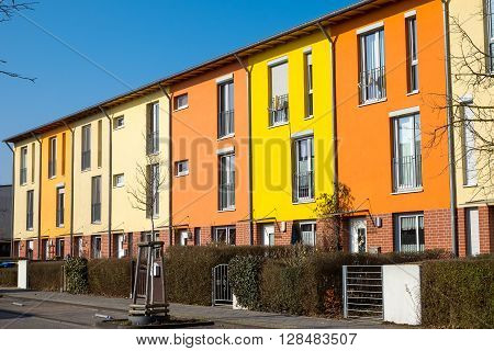 Colorful serial housing seen near Berlin in Germany