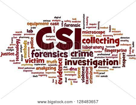 Csi, Crime Scene Investigation Word Cloud Concept 2