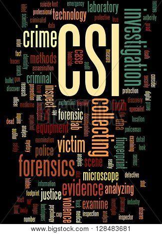 Csi, Crime Scene Investigation Word Cloud Concept 4
