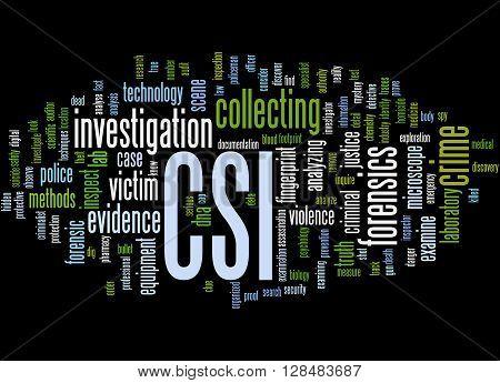 Csi, Crime Scene Investigation Word Cloud Concept 5