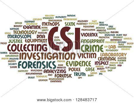 Csi, Crime Scene Investigation Word Cloud Concept 9