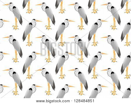 Seamless pattern of vector Heron. Heron background. Vector art background design for fabric, papper, skrapboking and decor.