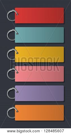 Key Holder Badge. Vector Illustration Of Colorful Key Fobs For Some Notes To Write On