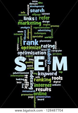 Sem, Search Engine Marketing Optimization Word Cloud Concept 3
