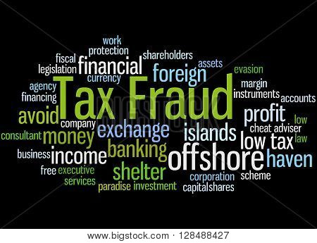 Tax Fraud, Word Cloud Concept 9