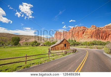 Gifford Barn By A Road In Capitol Reef National Park.