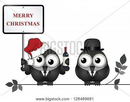 Drunken bird reveller at the office party with Merry Christmas sign perched on a branch isolated on white background