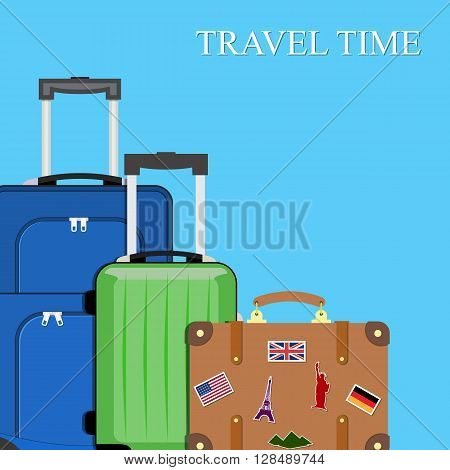 Baggage, luggage, suitcases on background. vector illustration in flat design. travel and vacations concept