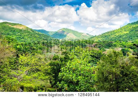 Beautiful landscape with mountains in western Cuba