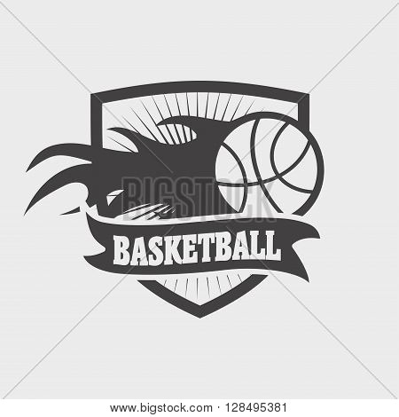 Basketball Club Logo, Sign Or Icon Design Template With Ball Shield And Fire Flame.