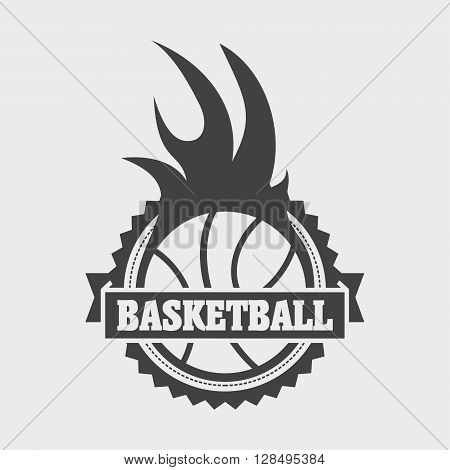 Basketball Label, Sign Or Icon With Ball And Fire Flame On White Background