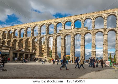 SEGOVIA,SPAIN - APRIL 22,2016 - The Aqueduct of Segovia. It is a Roman aqueduct and one of the most significant and best-preserved ancient monuments left on the Iberian Peninsula.