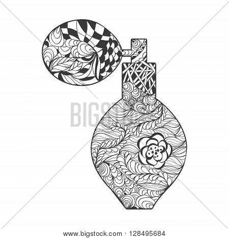 Perfume with decorative ornament. Vector perfume bootle with Zen-doodle or Zen-tangle pattern in white background for decorate package perfume cosmetic or creative Post Card