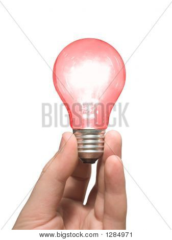 Red Light Bulb In Hand