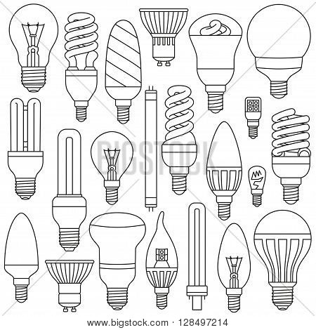 Ligth lamps set. Outlined icons isolated on the white. Vector illustration.