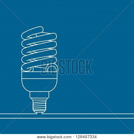 Conceptual blue background with white light lamp. Vector illustration.