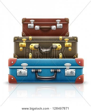 Old retro vintage suitcases bags pile for travel. Vector illustration. Isolated on white background