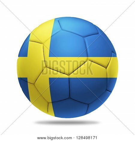 3D soccer ball with Sweden team flag isolated on white