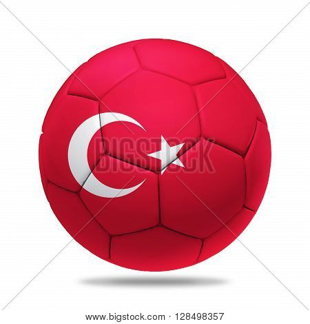 3D soccer ball with Turkey team flag isolated on white