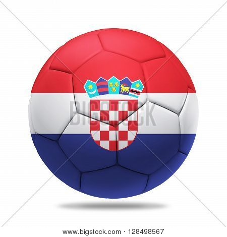 3D soccer ball with Croatia team flag isolated on white