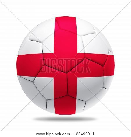 3D soccer ball with England team flag isolated on white