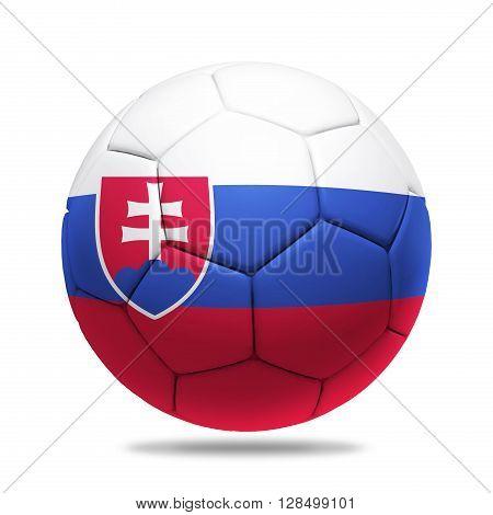 3D soccer ball with Slovakia team flag isolated on white