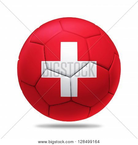 3D soccer ball with Switzerland team flag isolated on white