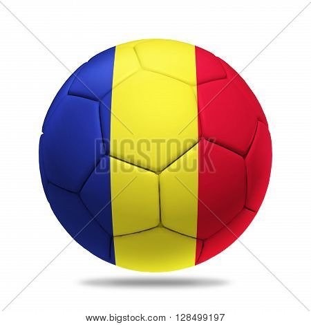 3D soccer ball with Romania team flag isolated on white