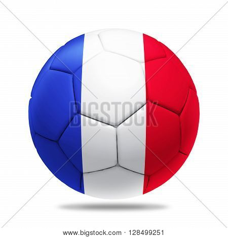 3D soccer ball with France team flag isolated on white