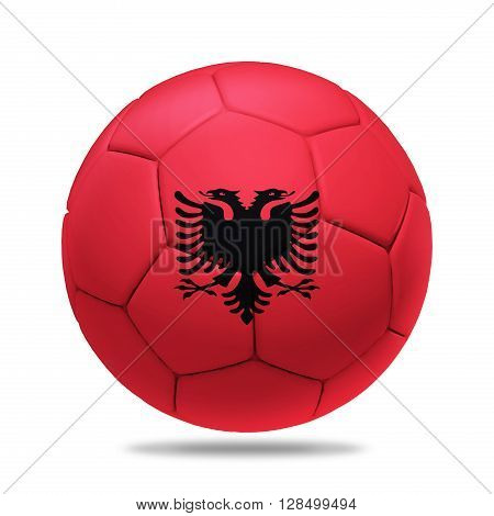 3D soccer ball with Albania team flag isolated on white