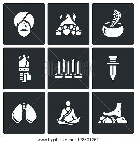 Vector Set of Indian Yoga Icons. Yogi, Burning coal, Fakir, Fire, Walking on nails, Swallowing a knife, Breathing technique, Meditation.